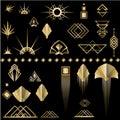 Art Deco template golden-black DIY elements set