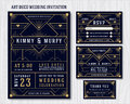 Art Deco Wedding Invitation Design Template. Royalty Free Stock Photo
