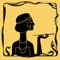 Art deco woman profile silhouette smoking Stock Photo