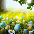 Art Decorated Easter Eggs In T...