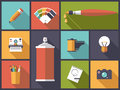 Art, design and photography Flat Icons Vector Illustration Royalty Free Stock Photo