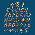 Art design stylized colorful font and alphabet