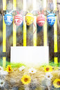 Art Easter Egg background fence card blank spring flower eggs Royalty Free Stock Photography