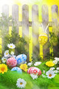Art Easter Egg background fence card spring flower Royalty Free Stock Photos