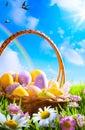 Art Easter eggs on basket Royalty Free Stock Photo