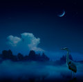 Art fantasy blue night background nature Stock Photography