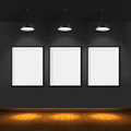 Art gallery blank picture frames on brick wall background Royalty Free Stock Photography