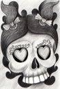 Art girl skull tattoo. Royalty Free Stock Photo
