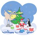 Greeting card with santa, elk, penguin, christmas tree, gifts of happy new year