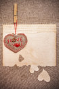 Art greeting card on vintage background with heart, old paper, f Royalty Free Stock Photo