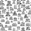 Art houses, seamless background for your design Stock Image