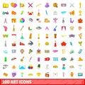 100 art icons set, cartoon style