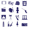 Art icons set eps blue Stock Image