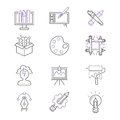 Art icons set vector illustration design linear symbols artistic pictogram creativity button graphic collection thin Royalty Free Stock Photo