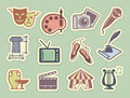 Art icons on stickers Royalty Free Stock Photo