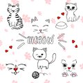 Cute and simple vector illustration of cats and kitten doodle icons, hand drawn cartoon cats set