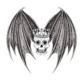 Art king skull wings tattoo design head smiley face mix devil for hand pencil drawing on paper Stock Images