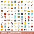 100 art learning icons set, flat style