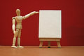 Art lesson artists manikin with blank canvas Stock Photo