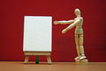 Art lesson artists manikin with blank canvas Royalty Free Stock Photos
