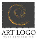 Art logo design sketchy swirl stroke on canvas Royalty Free Stock Photo