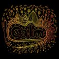 Art with mandala and calm gradient word. Doodle lettering artwor