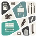 Art materials icons set Stock Images