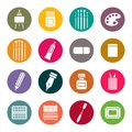 Art materials icons set color Royalty Free Stock Photos