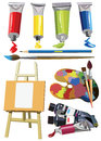 Art materials icons set easel paint