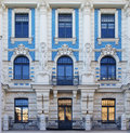 Art nouveau architecture in riga latvia cropped facade of historical building Royalty Free Stock Photo