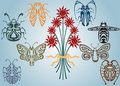 Art nouveau collection insects Royalty Free Stock Photography