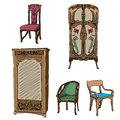 Art nouveau colored furniture collection hand drawn illustration of a series of chairs and wardrobes isolated on white Stock Photography