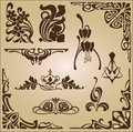 Art nouveau elements and corners design ornament of frame for decoration in the style of frames ornaments Royalty Free Stock Images