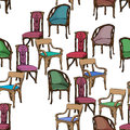 Art nouveau furniture pattern colored chairs seamless hand drawn illustration of a series of chairs isolated on white Stock Photo
