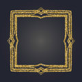 Art Nouveau gold glitter decorative rectangle vector frame for design. Art Deco style border