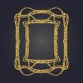Art Nouveau gold glitter decorative rectangle vector frame for design. Art Deco style border