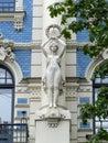 Art nouveau in riga building at a strēlnieku iela by mikhail eisenstein Stock Images