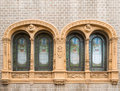 Art nouveau windows in vic near barcelona spain Stock Image