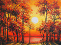 Art Oil Painting Picture - Autumn forest near the lake on sunset