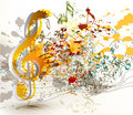 Art ornate treble clef with colorful splash staves and notes fo cute abstract music background for your design Stock Images