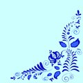 Art painting gzhel floral ornament on a blue background Royalty Free Stock Photo