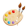Art palette with paints and brushes. Vector illustration.