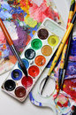 Art palette and watercolors Royalty Free Stock Photo