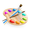 Art palette wirh brushes,pencil and paints Stock Image