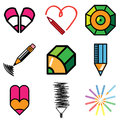 Art and pencil icons Stock Images