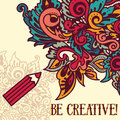 Art poster with doodle colorful ornament Royalty Free Stock Photo