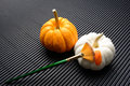 The art of pumpkin still life white is painted by paintbrush Stock Photos