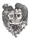 Art skull day of the dead. Royalty Free Stock Photo