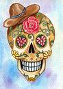Art skull day of the dead festival design head hand watercolor painting on paper Royalty Free Stock Photos
