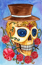 Art skull day of the dead festival design head hand watercolor painting on paper Royalty Free Stock Images